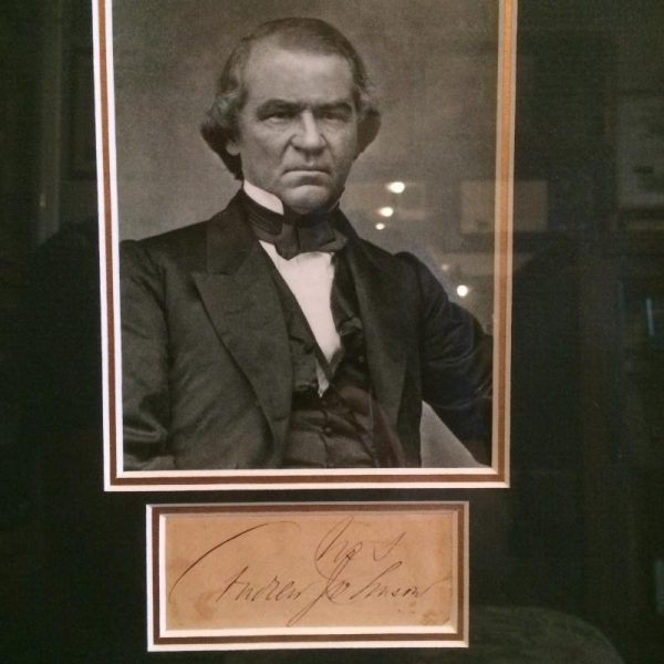 Very nice mounted and framed photo and signature of president Andrew Johnson