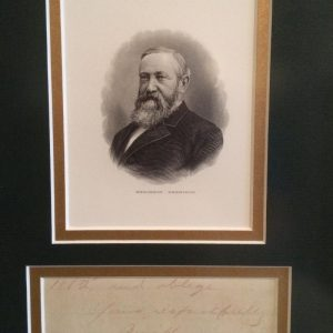 Professionally mounted and framed photo and signature of president Benjamin Harrison