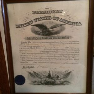 Professionally framed document and signature of president Benjamin Harrison
