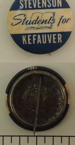 Students For Stevenson Kefauver Campaign Button
