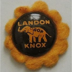 1936 Landon Knox GOP Elephant Sunflower Litho