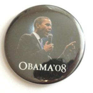 Barack Obama Talking In Mic Campaign Button