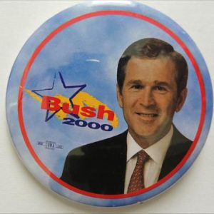 2000 Bush Blue Campaign Button With Star And Yellow In Background