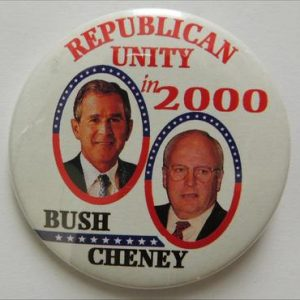 2000 - Republican Unity In 2000 Bush Cheney Campaign Button.
