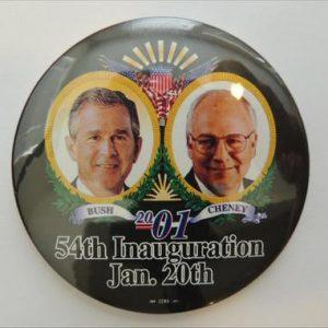 2001 Bush Cheney 54th inauguration Jan 20th campaign button.