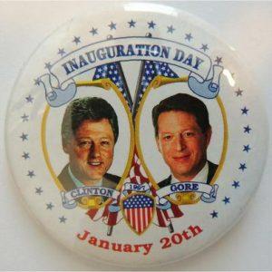 1997 Inauguration Day Clinton Gore January 20th white Campaign Button