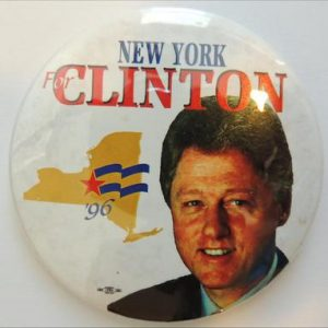 1996 New York for Clinton Campaign Button. White with New York state on it
