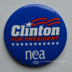 Bill Clinton for President NEA Campaign Button