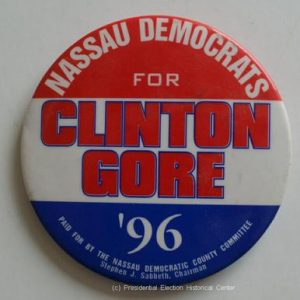 3 inch Nassau Democrats for Clinton Gore 96 Bill Clinton Campaign Button