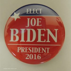 Elect Joe Biden President 2016 red campaign button with blue top and white lettering.