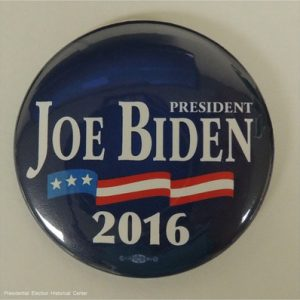 President Joe Biden 2016 blue campaign button with flag banner