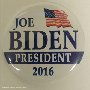 Joe Biden white President 2016 campaign button with US flag on top and blue lettering