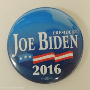Joe Biden President Blue campaign button with banner over 2016