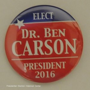 Elect Dr. Ben Carson red campaign button with blue top and white lettering