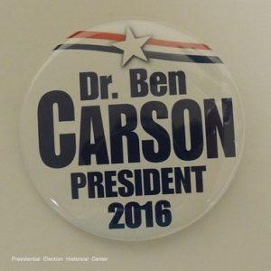 Dr. Ben Carson white campaign button President 2016