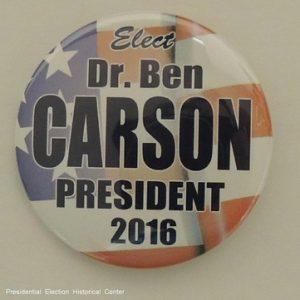 Elect Ben Carson President 2016 Flag background campaign button