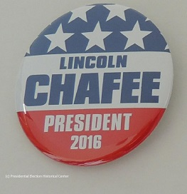 Lincoln Chafee President 2016. Red and white campaign button
