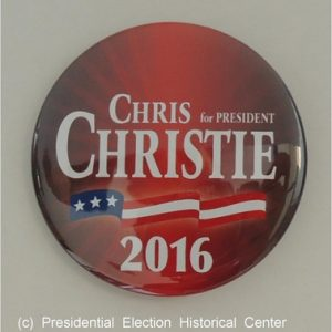 Chris Christie 2016 President red campaign button with white lettering and flag banner