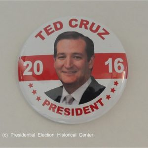 Ted Cruz 2016 President white campaign button with red lettering