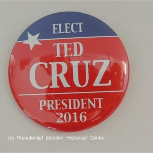 Red Elect Ted Cruz President 2016 campaign button with blue top