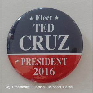 Blue Elect Ted Cruz for President 2016 campaign button with red bottom