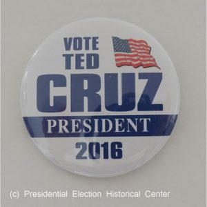 Vote Ted Cruz President 2016 white campaign button with blue lettering