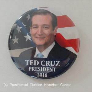 Ted Cruz for President 2016 campaign button with face in front of American flag