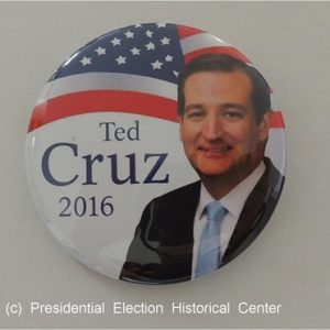 Ted Cruz 2016 white campaign button with face in front of American flag