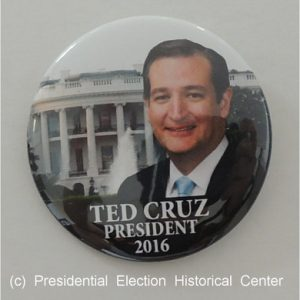 Ted Cruz President 2016 campaign button with face in front of the White House