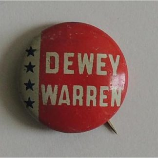 1948 Dewey-Warren 7/8 inch litho campaign button - Red