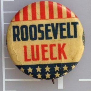 FDR Roosevelt Lueck celluloid patriotic campaign button