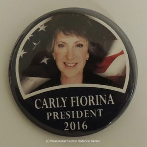 Carly Fiorina President 2016 campaign button face photo with flag in background