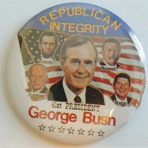 George H. W. Bush Campaign Button - Republican Integrity George Bush