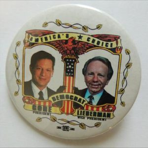 American Choice Gore Lieberman campaign button