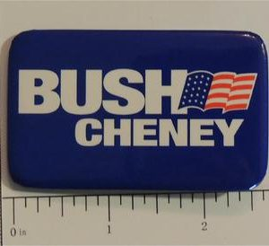 Bush Cheney Blue with American Flag Campaign Button