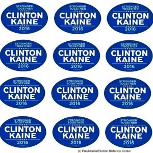 12 Pack Set - Stronger Together Clinton / Kaine 2016 blue and white bumper stickers