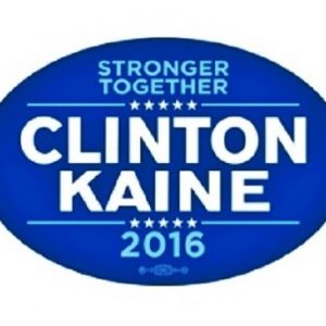 Stronger Together Clinton / Kaine 2016 blue and white bumper sticker