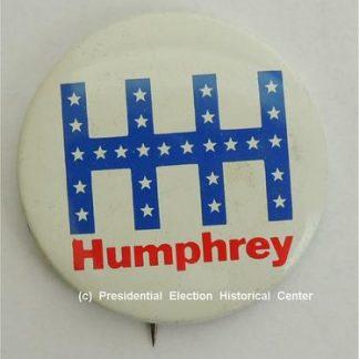 HHH Humphrey Campaign Button with white stars