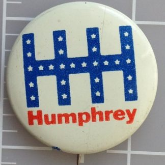 1.25 inch HHH white Humphrey campaign button with union bug on lower left front