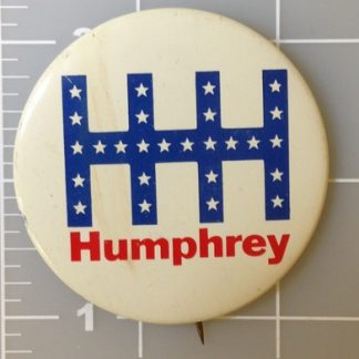 1.25 inch HHH Humphrey Muskie white campaign button with blue and red lettering. Union bug left side