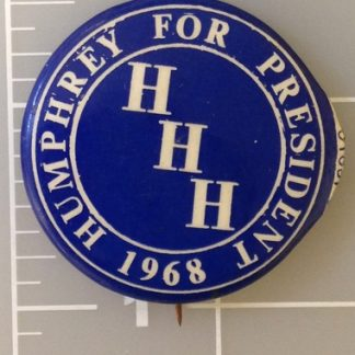 Humphrey for President 1968 blue campaign button