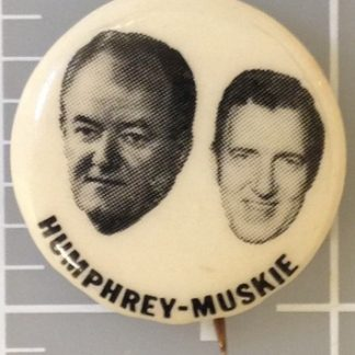 1 inch Humphrey Muskie white campaign button with both face photos