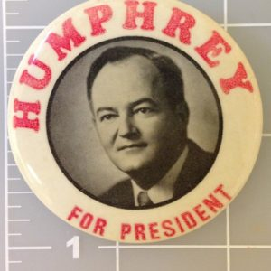 2.25 inch Humphrey for president campaign button with red lettering