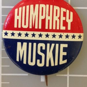 Humphrey Muskie patriotic campaign button with blue stars