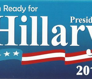 Hillary 2016 light blue bumper sticker with star