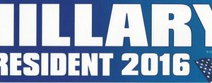 Hillary President 2016 bumper sticker. Measures 11 inches