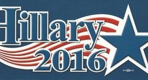 Hillary 2016 dark blue bumper sticker with star. Measures 8-1/2 inches