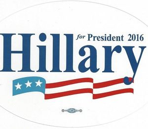 Hillary for President 2016 oval bumper sticker (white).