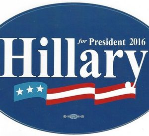 Hillary for President 2016 oval bumper sticker (dark blue).