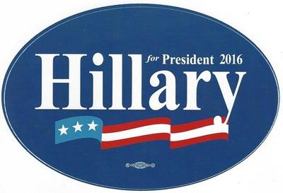 Hillary for President 2016 oval bumper sticker (dark blue).